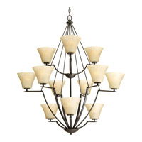 Progress P4687-20 Bravo 12 Light 38 inch Antique Bronze Chandelier Ceiling Light in Umber Linen photo thumbnail