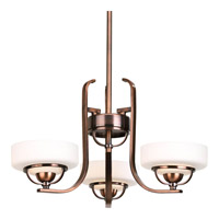 Progress Lighting Torque 3 Light Chandelier in Copper Bronze P4691-124WB