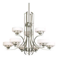 Progress Lighting Torque 9 Light Chandelier in Brushed Nickel P4693-09WB