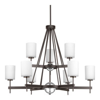 Progress Compass 9 Light Chandelier in Antique Bronze P4707-20