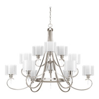 Progress Lighting Invite 12 Light Chandelier in Brushed Nickel with Silk Mylar Shade and Etched Glass P4725-09