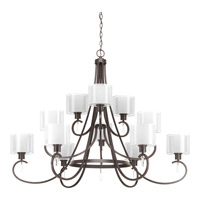 Progress Lighting Invite 12 Light Chandelier in Antique Bronze with Silk Mylar Shade and Etched Glass P4725-20