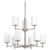 Progress P4726-09 Replay 9 Light 26 inch Brushed Nickel Chandelier Ceiling Light