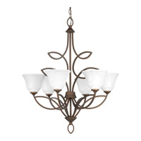 Progress P4737-102 Monogram 6 Light 28 inch Roasted Java Chandelier Ceiling Light
