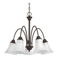 Progress Lighting Tally 5 Light Chandelier in Antique Bronze with Etched White Linen Glass P4741-20