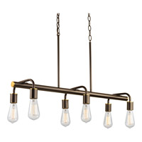 Swing 6 Light 35 inch Antique Bronze Linear Chandelier Ceiling Light