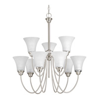 Progress P4743-09 Tally 9 Light 30 inch Brushed Nickel Chandelier Ceiling Light