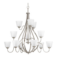 Progress Lighting Arden 12 Light Chandelier in Brushed Nickel with Etched Glass P4748-09