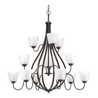 Progress Lighting Arden 12 Light Chandelier in Antique Bronze with Etched Glass P4748-20