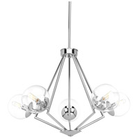 Mod 5 Light 29 inch Polished Chrome Chandelier Ceiling Light, Clear Glass