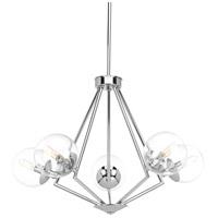 Progress P4755-15 Mod 5 Light 29 inch Polished Chrome Chandelier Ceiling Light Design Series