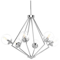 Mod 6 Light 34 inch Polished Chrome Chandelier Ceiling Light, Clear Glass