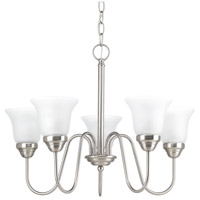 Classic 5 Light 23 inch Brushed Nickel Chandelier Ceiling Light, Etched Glass