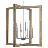 Turnbury 8 Light 36 inch Galvanized and Distressed Pine Chandelier Ceiling Light, Design Series