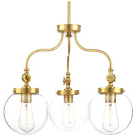 Penn 3 Light 22 inch Natural Brass Chandelier Ceiling Light, Clear Glass