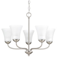 Classic 5 Light 22 inch Brushed Nickel Chandelier Ceiling Light, Etched Glass