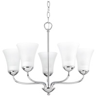 Classic 5 Light 22 inch Polished Chrome Chandelier Ceiling Light, Etched Glass