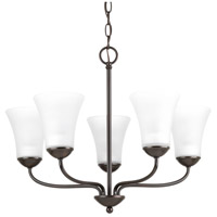 Classic 5 Light 22 inch Antique Bronze Chandelier Ceiling Light, Etched Glass