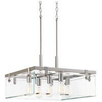 Progress P500074-009 Glayse 5 Light 23 inch Brushed Nickel Pendant Ceiling Light Design Series