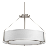 Ratio 4 Light 24 inch Brushed Nickel Pendant Ceiling Light, White Linen