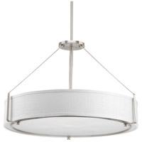 Ratio 6 Light 30 inch Brushed Nickel Pendant Ceiling Light, White Linen