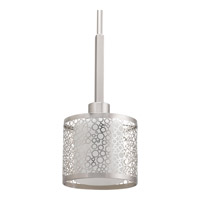 Mingle 1 Light 6 inch Brushed Nickel Mini-Pendant Ceiling Light in Etched Spotted White Glass