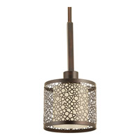 Progress P5038-20 Mingle 1 Light 6 inch Antique Bronze Mini-Pendant Ceiling Light in Etched Spotted Tea Glass