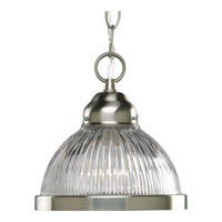 Progress Lighting Prismatic Glass 1 Light Mini-Pendant in Brushed Nickel P5080-09