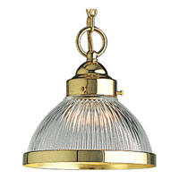 Progress Lighting Prismatic Glass 1 Light Mini-Pendant in Polished Brass P5080-10