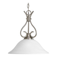 Progress Lighting Alabaster Glass 1 Light Pendant in Brushed Nickel P5091-09
