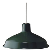 Metal Shade 1 Light 16 inch Dark Green Pendant Ceiling Light in Standard