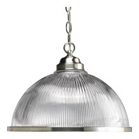 Progress Lighting Prismatic Glass 1 Light Pendant in Brushed Nickel P5103-09