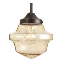 Academy 1 Light 8 inch Antique Bronze Pendant Ceiling Light in Clear Seeded Light Umber Seeded Glass