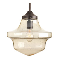 Academy 1 Light 12 inch Antique Bronze Pendant Ceiling Light in Clear Seeded Light Umber Seeded Glass