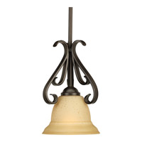 Torino 1 Light 8 inch Forged Bronze Mini-Pendant Ceiling Light in Tea-Stained