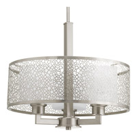 Mingle 3 Light 17 inch Brushed Nickel Pendant Ceiling Light in Etched Spotted White Glass