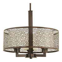 Progress P5155-20 Mingle 3 Light 17 inch Antique Bronze Pendant Ceiling Light in Etched Spotted Tea Glass