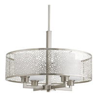 Progress P5156-09 Mingle 4 Light 21 inch Brushed Nickel Pendant Ceiling Light in Etched Spotted White Glass