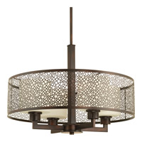 Progress P5156-20 Mingle 4 Light 21 inch Antique Bronze Pendant Ceiling Light in Etched Spotted Tea Glass