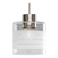 Progress Lighting Glass Pendants 1 Light Mini-Pendant in Brushed Nickel P5159-09