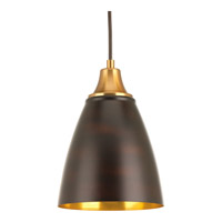 Progress Lighting Pure LED Pendant in Natural Brass with Antique Bronze with Gold Interior Shade P5175-2030K9