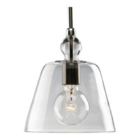 Glass Pendants 1 Light 8 inch Polished Nickel Mini-Pendant Ceiling Light