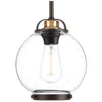 Chronicle 1 Light 8 inch Antique Bronze Pendant Ceiling Light, Clear Seeded White Opal Glass