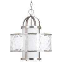Bay Court 1 Light 15 inch Brushed Nickel Pendant Ceiling Light, Distressed Clear Glass
