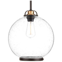 Chronicle 1 Light 12 inch Antique Bronze Pendant Ceiling Light, Clear Seeded Opal Etched Glass