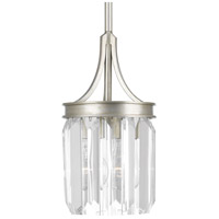 Glimmer 1 Light 6 inch Silver Ridge Pendant Ceiling Light, Clear Glass