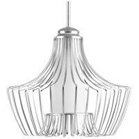 Finn 1 Light 15 inch Metallic Silver Pendant Ceiling Light, Etched White Glass