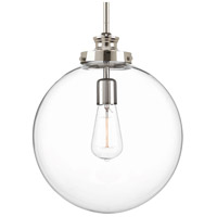 Penn 1 Light 12 inch Polished Nickel Pendant Ceiling Light, Clear Glass