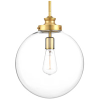 Penn 1 Light 12 inch Natural Brass Pendant Ceiling Light, Clear Glass