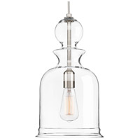 Staunton 1 Light 9 inch Brushed Nickel Pendant Ceiling Light, Clear Glass